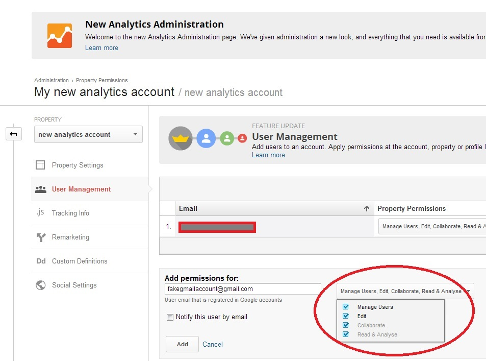 how to add people to analytics accounts